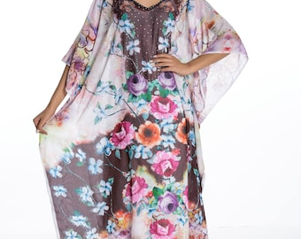 kaftan,  caftan dress, plus size dress, beach kaftan dress free size FLORAL dress embellished caftans