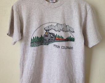 Vintage Pitkin Colorado Steam Train T-Shirt - Gray - Size Small/Medium - Made in USA
