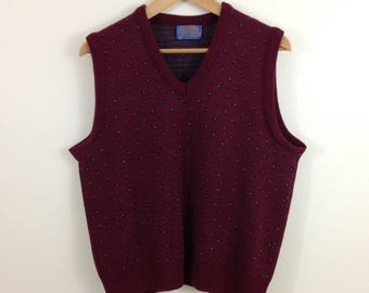 Vintage Pendleton Virgin Wool Burgundy Sweater Vest - Size Large - Made in USA