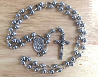 Handmade Catholic Rosary: St. Michael with Gray/Silver Glass Pearl Beads
