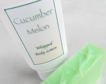 Cucumber Melon Lotion Gift Set - Natural Whipped Body Lotion, Cold Process Soap - Cocoa Butter,  Organic Camellia Oil - Bath Set