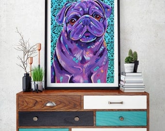 Pug wall art, Pug decor, Pug gift idea, Black pug, dog art print, Pug art