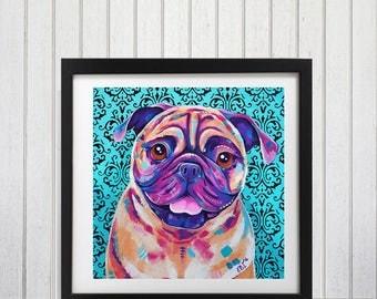 Pug Dog art print, Pug wall decor, Pug wall art, Pug lover gift, Pug art, Cute pug gift