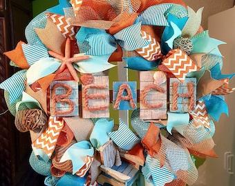 Summer Wreath, Beach Wreath, Burlap Wreath