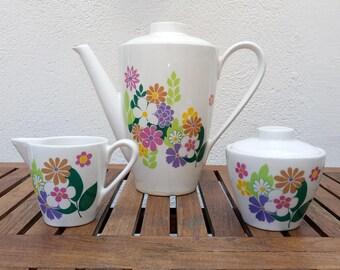Coffee pot, milk jug and sugar bowl vintage 70s floral porcelain