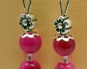 Pink agate, stone of luck and harmony, 6mm beads and Tibetan Silver Flower beads earrings