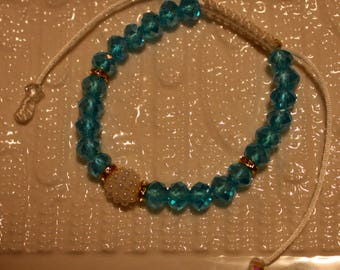 Beautiful Crystal & Pearl-beaded bracelet in Aqua and white; handmade, shamballa, beadweaving, cute, casual-wear, party-wear