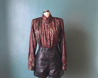 High Neck Blouse. Vintage Blouse. Secretary Blouse. Boho Blouse. Striped Blouse. Printed Paisley Blouse. Vintage Floral Blouse