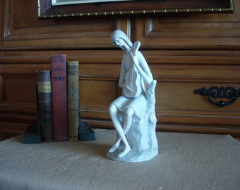 Young Girl Playing Guitar Bisque Porcelain