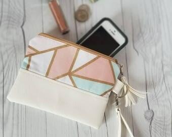 Pink Teal Pastel Wristlet - Wristlet Wallet - Womens Wallet - Faux Leather - Small Crossbody - Phone Wallet - Wristlet Purse - Geometric