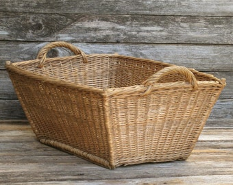 vintage french laundry basket french farmhouse decor country wicker laundry hamper old wash basket