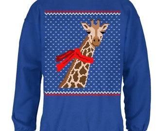 Big Giraffe Scarf Ugly Christmas Sweater Mens Sweatshirt