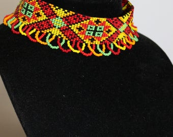 Ukrainian jewelry choker necklace beaded choker multicolour necklace ethnic necklace Ukrainian gerdan Ukrainian gift for ukrainian ornament