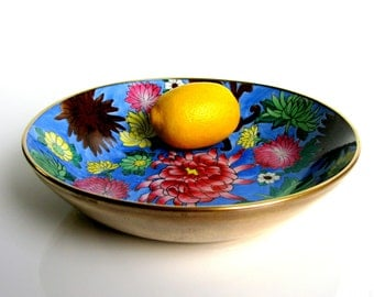 60s / Chinese / Porcelain & Brass Bowl / Large / Porcelain Bowl / Hand Painted / Chrysanthemum / Brasss Cased Bowl / Plate / Mid Century