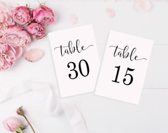Wedding Table Numbers - Table Number Cards 1-30 - Printable Table Numbers - Table Numbers Instant Download