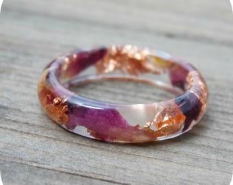 Real Rose Petal Copper Flake Resin Ring, real rose petals, rose jewelry, copper jewelry, copper flakes, resin rings, resin jewelry