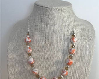Orange, Pink, Purple and Silver Necklace | Speckled Jewelry | Statement Necklace | Beaded Necklace | Everyday Necklace | One Strand Necklace