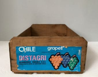 Vintage Wooden Distagri Grapes crate