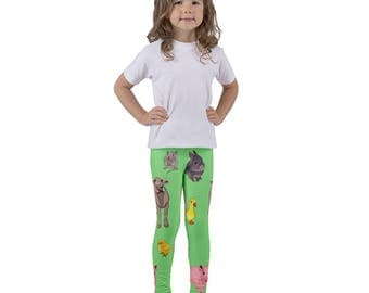 Animal Kid's leggings, Farm Animal Clothing, Gift for Toddlers, Easter Outfit, Gift for Grandkid, Animal Lover Gift, Kids Gymnastic Pants