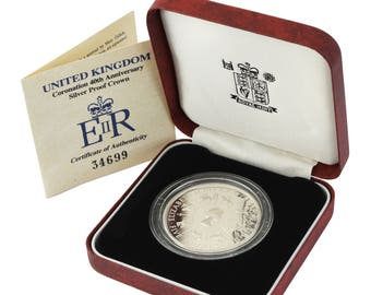 1993 Silver Proof 5.00 Five Pounds Coin Coronation 4th Anniversary