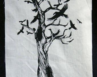 Screenprinted Crow Tree patch