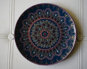 "Plate decorated entirely by hand, DIA 210 mm (8 "") - unique design, signed and numbered, excellent as a piece of furniture or as a gift."