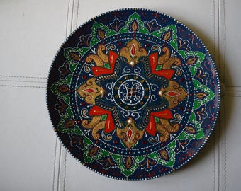 "Plate decorated entirely by hand, DIA 260 mm (10 "") - unique design, signed and numbered, excellent as a piece of furniture or as a gift."