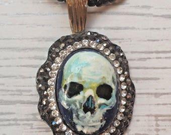 Painted Pendant Necklace Lapis Lazuli With La Santa Muerte Day Of The Dead Dia de los Muertos Mexican Art