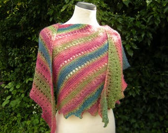 Knitting scarf, shawl, hand knit, shawl, scarf, scarf angle, red-green petrol