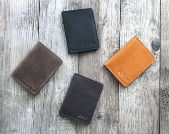 Mens leather wallet Personalized wallet Minimalist wallet Slim wallet Front Pocket wallet Groomsmen gift Credit Card Wallet Gift for him.