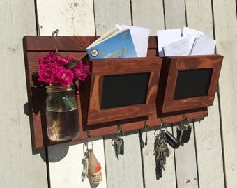 Mason Jar Rustic Decor Key Hook Mail Holder for kitchen or office