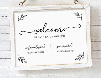 Wifi Password Printable, Wifi Sign Template, Welcome Guest Room Internet Sign, 100% Editable, Instant Download, Templett, 5x7, 8x10 #102WF
