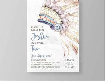 Brave Little Man Birthday Invitation | Tribal Pow Wow Party Invite | Wild One | Printable | Editable Template | Instant Download #035BBD