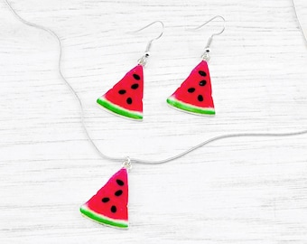 Watermelon jewellery, melon jewellery, watermelon earrings, fun jewellery, quirky jewellery, fun gift, fruit jewellery