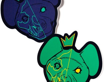 hyena with skull and crown vinyl sticker in blue and green