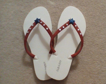 Flip flops red white and blue rhinestones star 4th of July