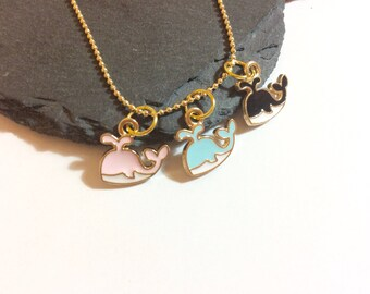 Multi  whale necklace , whale jewellery , gold whale , ocean jewellery , necklace , cute gufts , kawaii , sealife