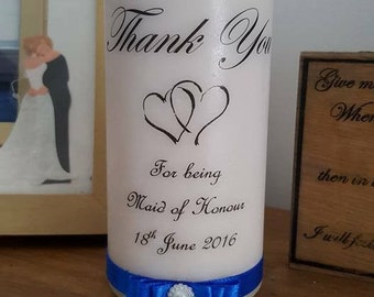 Personalised thank you wedding pillar candle -