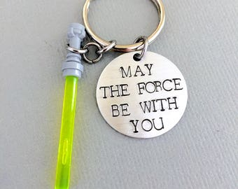 May The Force Be With You Keychain, Star Wars Keychain, Boyfriend Gift, Graduation Gift, Groomsmen Gift, Light Saber, Yoda, Gift for Him