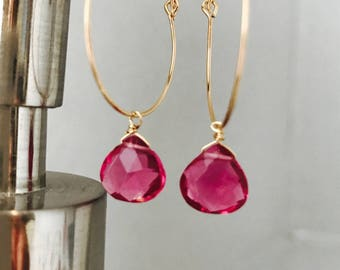Pink Quartz Earrings Hoop Earrings Gemstone Earrings Healing Earrings October Birthstone Boho Earrings Pink Earrings