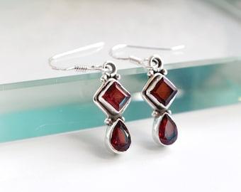 Red gift mom, Gift Girlfriend earrings, coworker jewelry gift Red Garnet Earrings, January Birthstone, Birthday gifts Boho Delicate Earrings