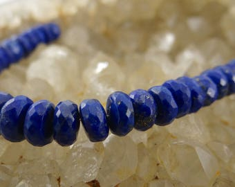 Afghan Lapis Lazuli | Faceted Rondelle Beads | Mini Strands of Approx. 30 Pieces
