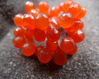 Orange Carnelian | Faceted 3-D Teardrop Pear Briolette Beads | 9x5mm | Sets of 12, Sets of 16