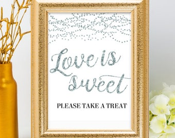 Printable Silver Foil Look Love is Sweet Take a Treat String Lights Wedding Event Sign, 2 Sizes, Non-Editable PDF, Instant Download