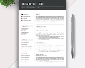 Professional Resume Template, CV Template, Cover Letter, MS Word, 5 Page Resume, Creative Modern Teacher Resume, Instant Download, Barbara