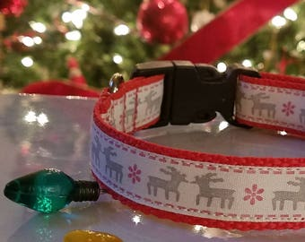 Christmas Dog Collars Christmas Deer & Christmas Plaid Small Medium Holiday Collars