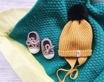 Baby blanket hat set Organic newborn gift Corporate baby gift Baby blessing gift Organic baby clothes Montessori baby Bring baby home Baby