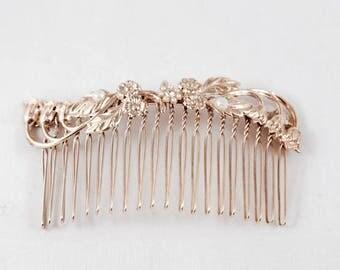 Pink Gold Hair Comb, Bridal Hair Comb, Wedding Hair Comb, Pink Gold Hair Comb, Bridesmaid Hair Comb, Bridal Decorative Comb, Rose Gold Comb