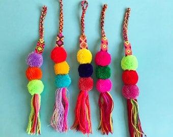 Mexican pom pom, Pom pom bag charm, Pom pom pendant, Purse charm, Pendant pom pom, Boho pendant, Pom pom charm, Pom pom tassel, Bag pendant