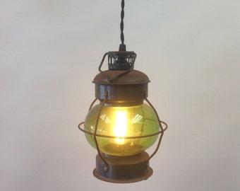 Small antique green oil lantern- electrified